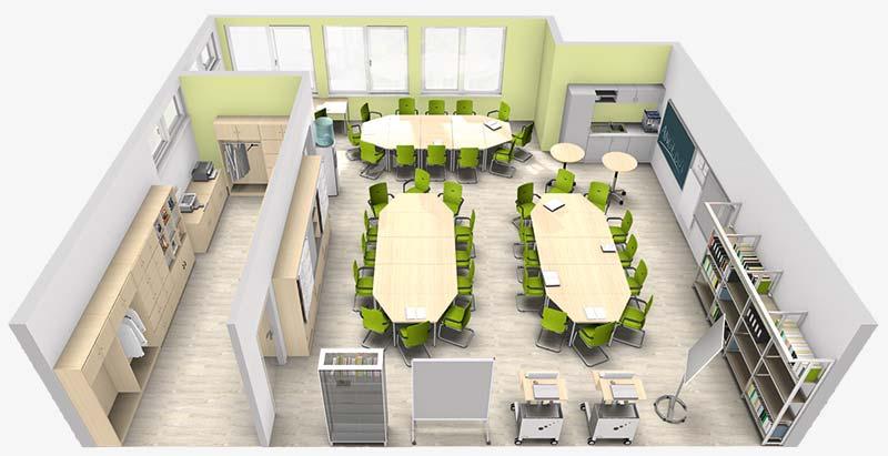 3D Ansicht Lehrerzimmer Gestaltungsvorschlag