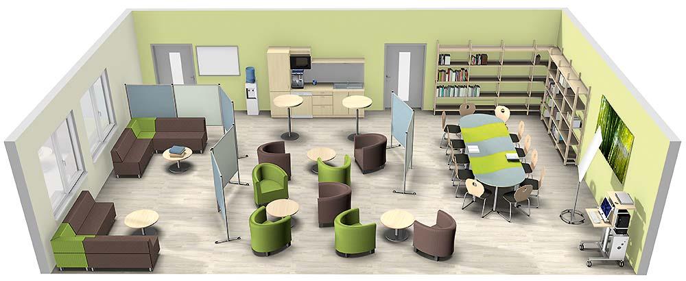 3D Darstellung Lehrerzimmer als Rückzugsraum