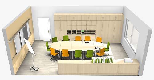 """Treffpunkt """"Runder Tisch"""" inklusive Wandschienensystem und Schrankwand"""