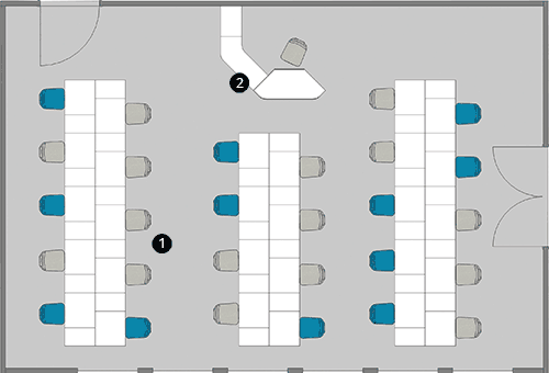 Schematische Darstellung Unterrichtsraum