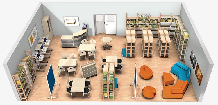 3D-Raumkonzept Bibliothek
