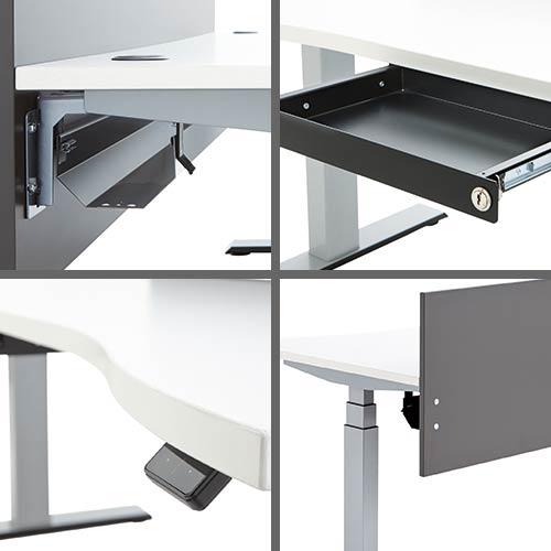 Details elektrisch höhenverstellbarer Schreibtisch